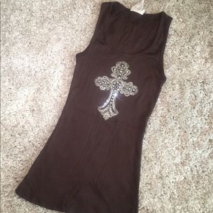 Chocolate tank top with silver metal & rhinestones